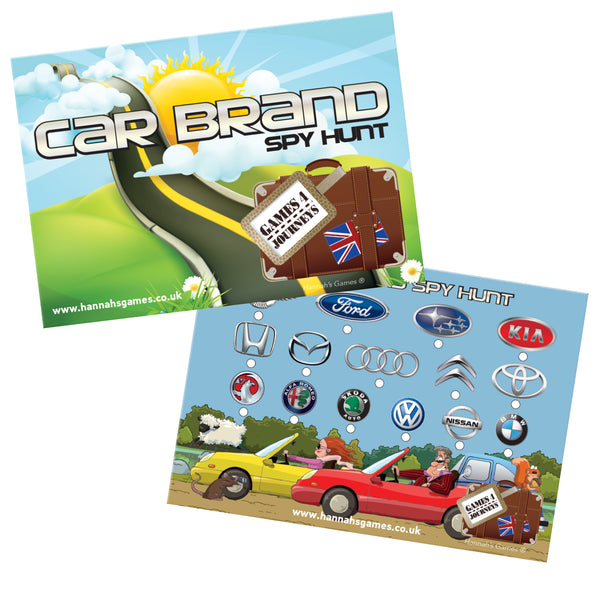 CAR BRAND BINGO Travel Game Spy Hunt