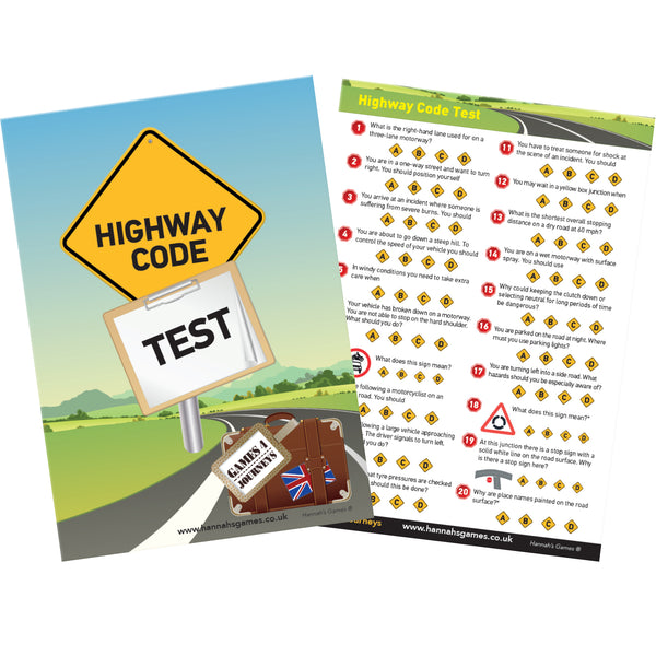 HIGHWAY CODE QUIZ travel game - perfect for back-seat Drivers!