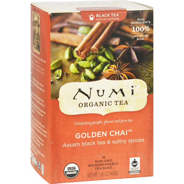 Mother Mantis: Numi Golden Chai Spiced Assam Black Tea - 18 Tea Bags - Case Of 6 Numi Tea