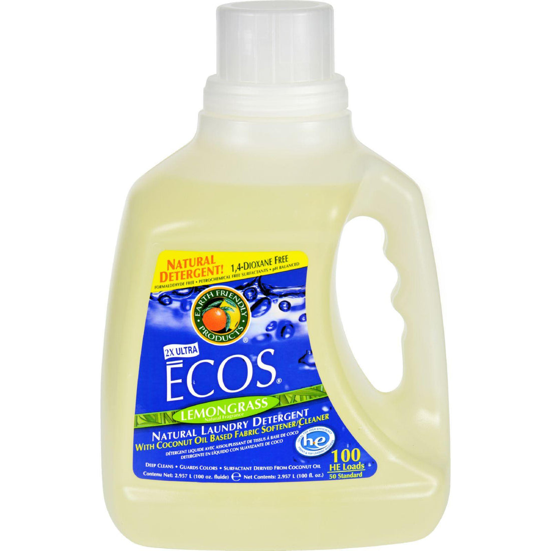 Mother Mantis: Earth Friendly Ecos Ultra 2x All Natural Laundry Detergent - Lemongrass - Case Of 4 - 100 Fl Oz Earth Friendly