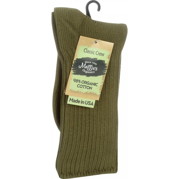 Mother Mantis: Maggie's Organics Socks - Organic Cotton - Crew - Classic - Olive - Size 9 To 11 - 3 Pair Maggie's Organics