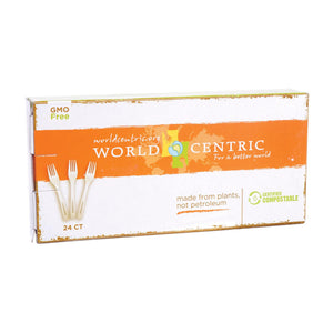 World Centric Corn Starch Fork - Case Of 12 - 24 Count World Centric