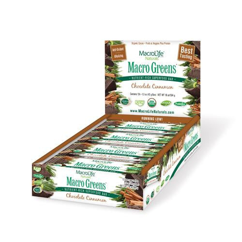 Mother Mantis: Macrolife Naturals Macro Green Bar - Chocolate Cinnamon - Case Of 12 - 42 Grams Macrolife Naturals