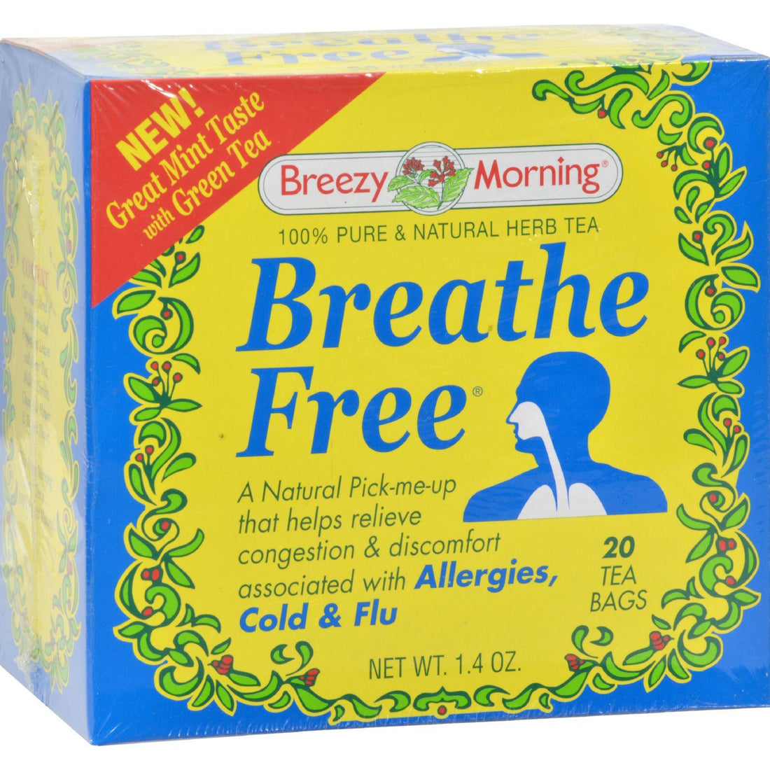 Mother Mantis: Breezy Morning Teas Breathe Free 100% Pure And Natural Herb Tea - 20 Bags Breezy Morning Teas