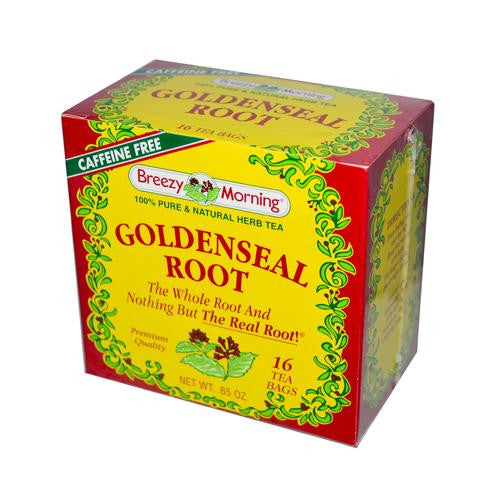 Mother Mantis: Breezy Morning Teas Goldenseal Root Caffeine Free - 16 Bags Breezy Morning Teas