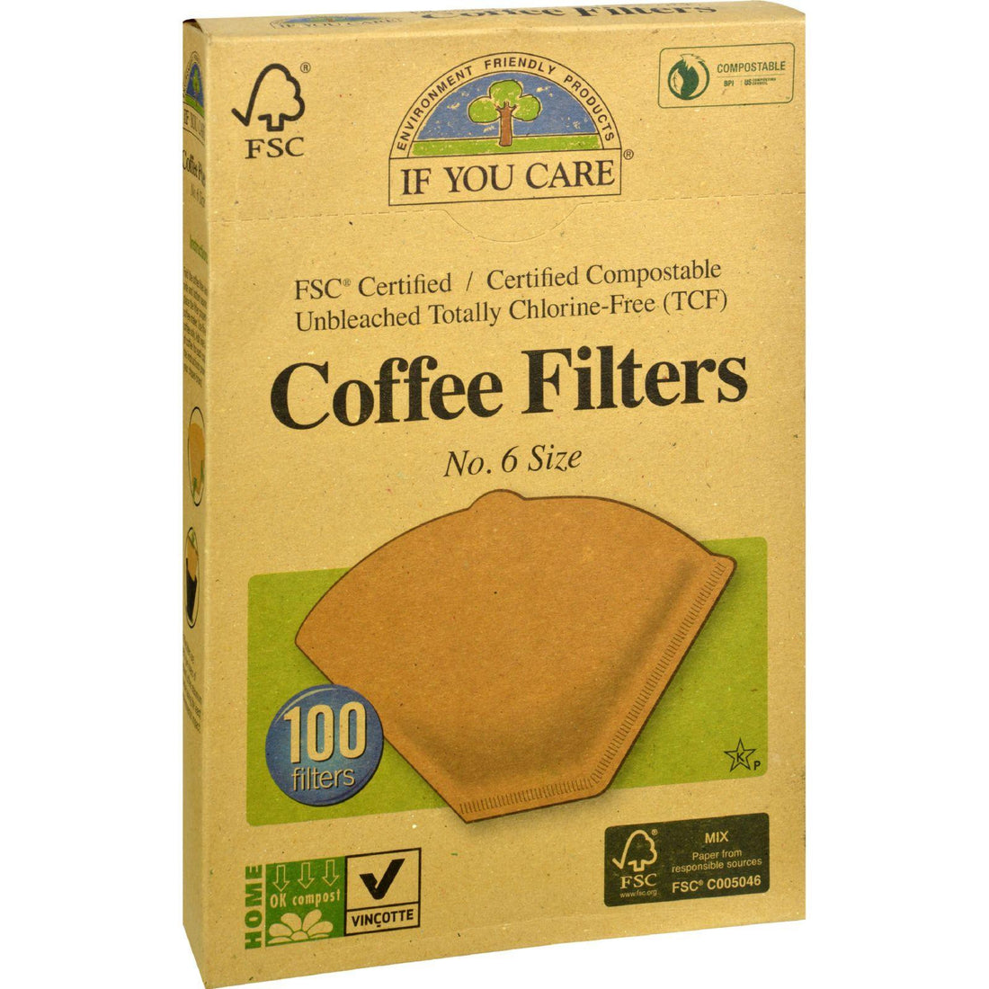 Mother Mantis: If You Care Coffee Filters - Brown - Cone - Number 6 - 100 Count If You Care