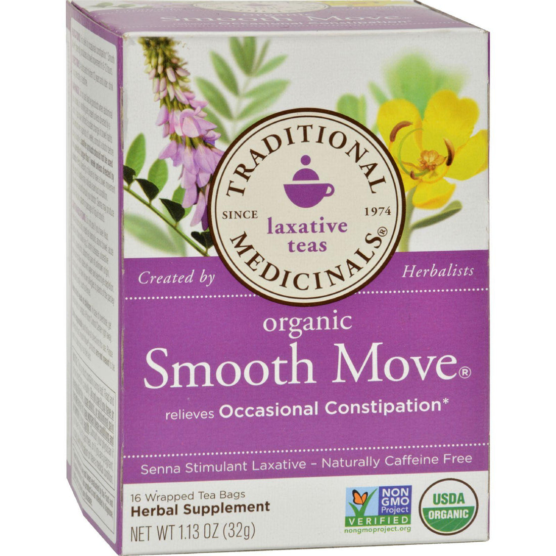 Mother Mantis: Traditional Medicinals Organic Smooth Move Herbal Tea - 16 Tea Bags - Case Of 6 Traditional Medicinals