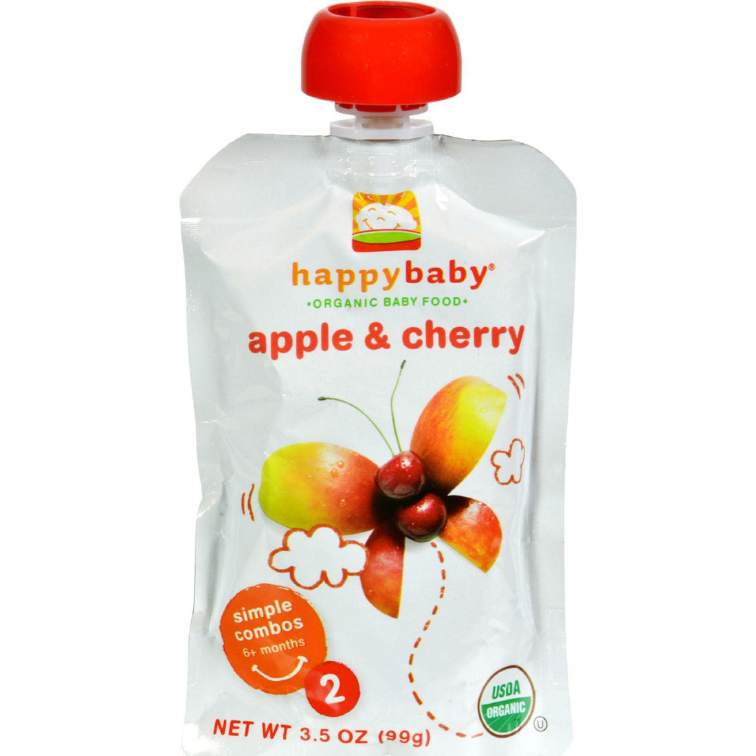Mother Mantis: Happy Baby Organic Baby Food Stage 2 Apple And Cherry - 3.5 Oz - Case Of 16 Happy Baby