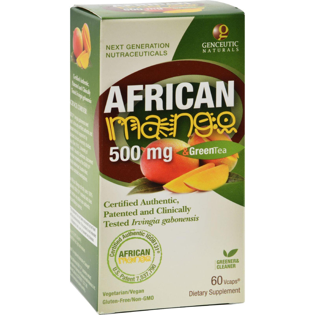Mother Mantis: Genceutic Naturals African Mango Plus Green Tea - 500 Mg - 60 Vcaps Genceutic Naturals