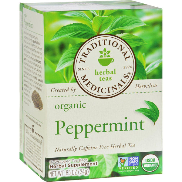 Mother Mantis: Traditional Medicinals Organic Peppermint Herbal Tea - Caffeine Free - Case Of 6 - 16 Bags Traditional Medicinals