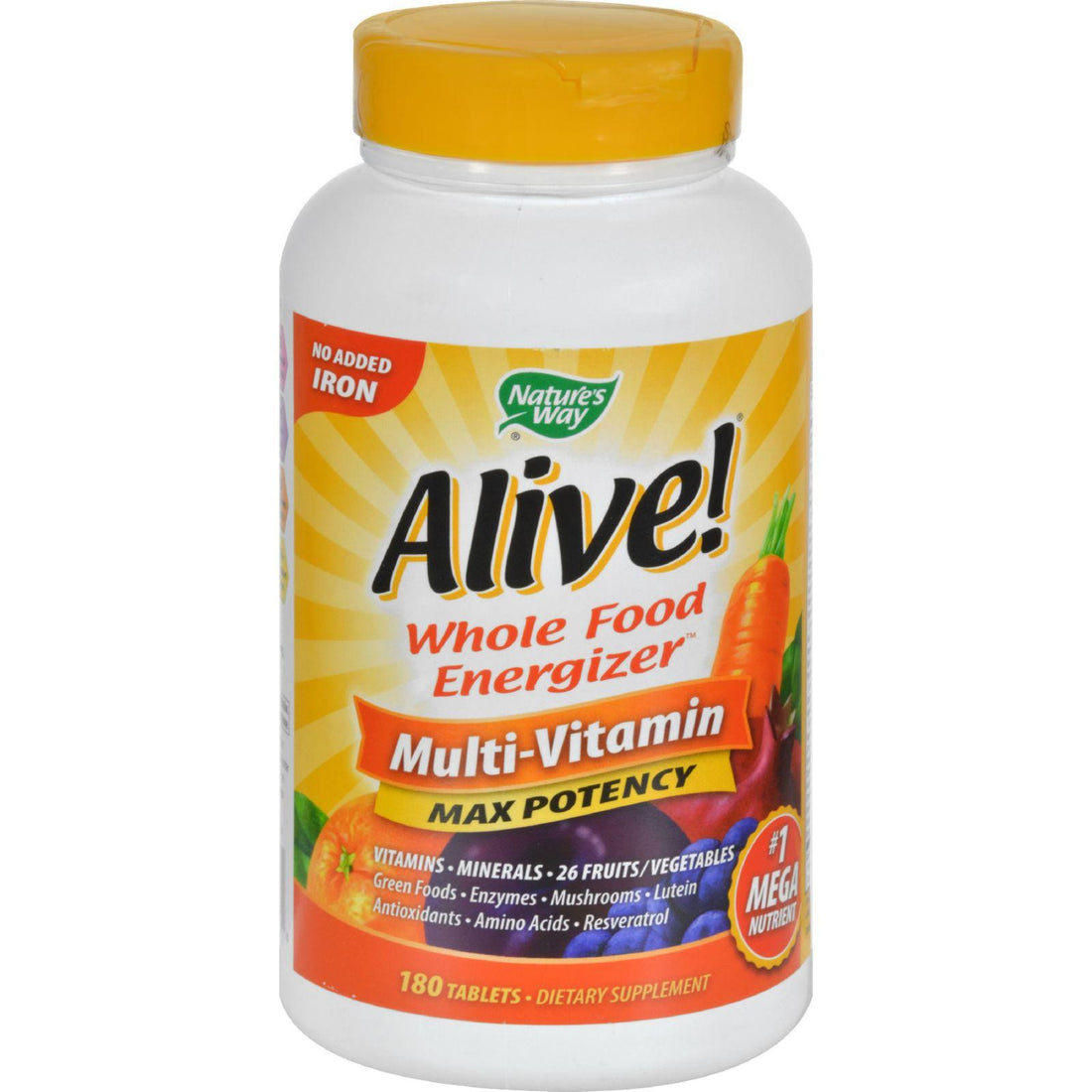 Mother Mantis: Nature's Way Alive Multi-vitamin No Iron Added - 180 Tablets Nature's Way