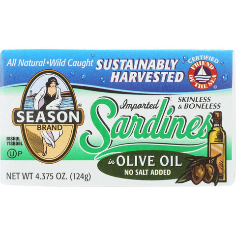 Season Brand Sardines - Skinless And Boneless - In Olive Oil - No Salt Added - 4.375 Oz - Case Of 12 Season Brand