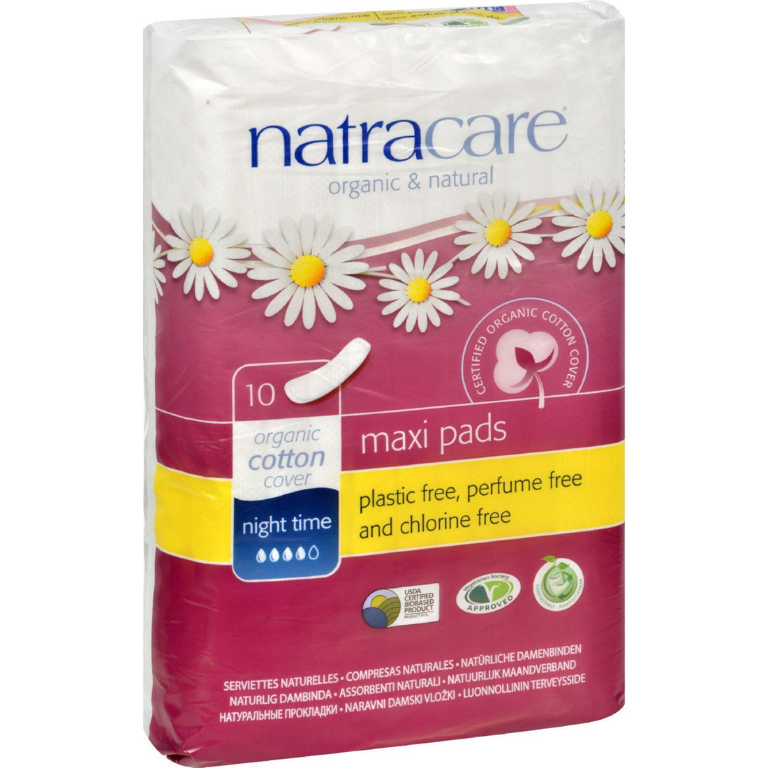 Mother Mantis: Natracare Natural Night Time Pads - 10 Pack Natracare