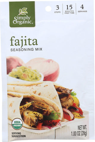 Simply Organic Seasoning Mix - Fajita - Case Of 12 - 1 Oz. Simply Organic