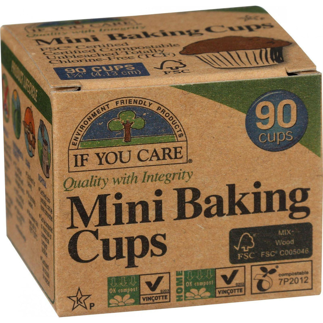 Mother Mantis: If You Care Baking Cups - Mini - Unbleached Totally Chlorine Free - 90 Count If You Care