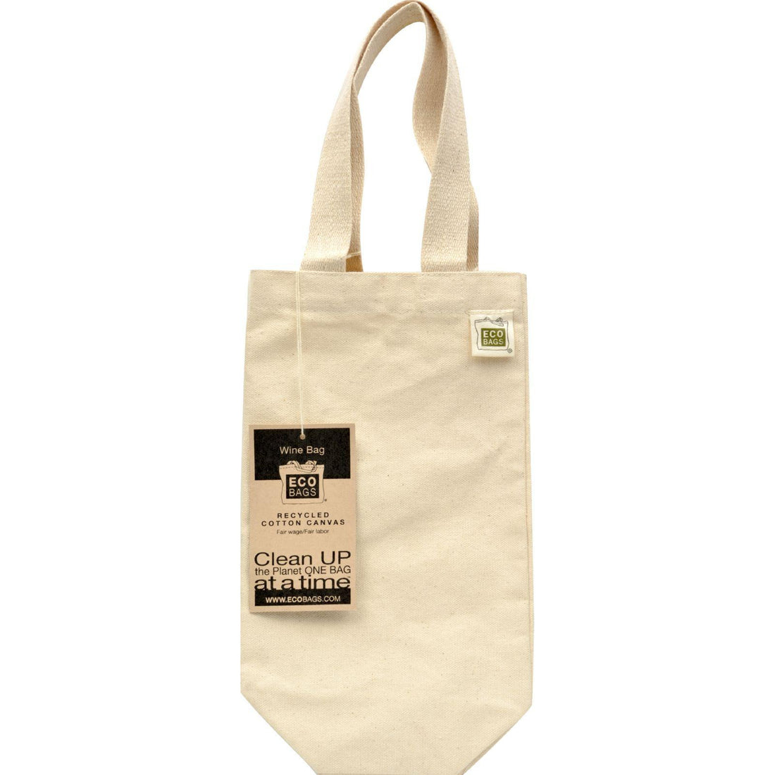 Mother Mantis: Ecobags Canvas Wine Bag (1 Bottle) 6.5x12 - Recycled Cotton - 10 Bags Ecobags