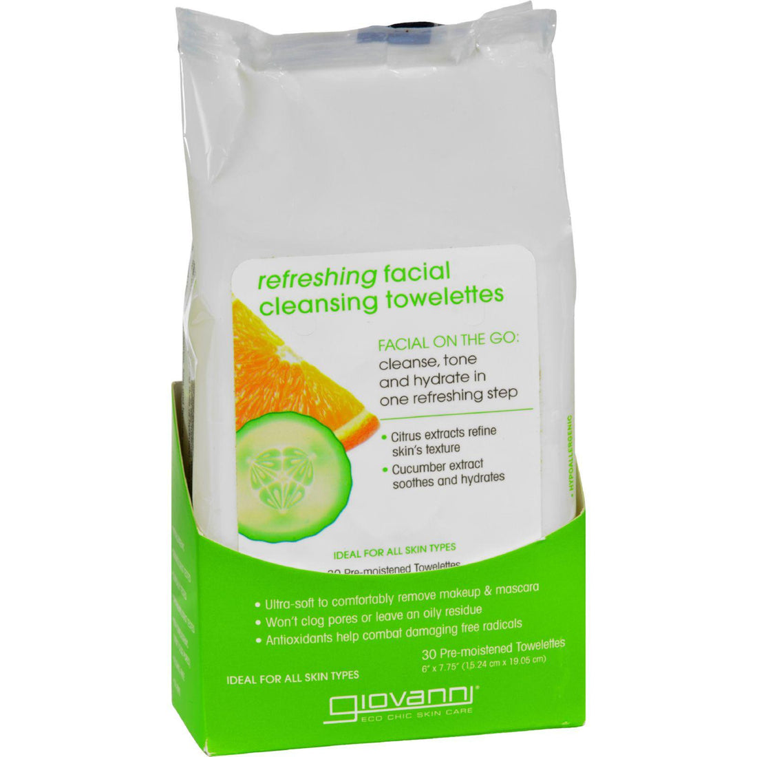 Mother Mantis: Giovanni Facial Cleansing Towelettes - Refreshing Citrus And Cucumber - 30 Towelettes Giovanni Hair Care Products