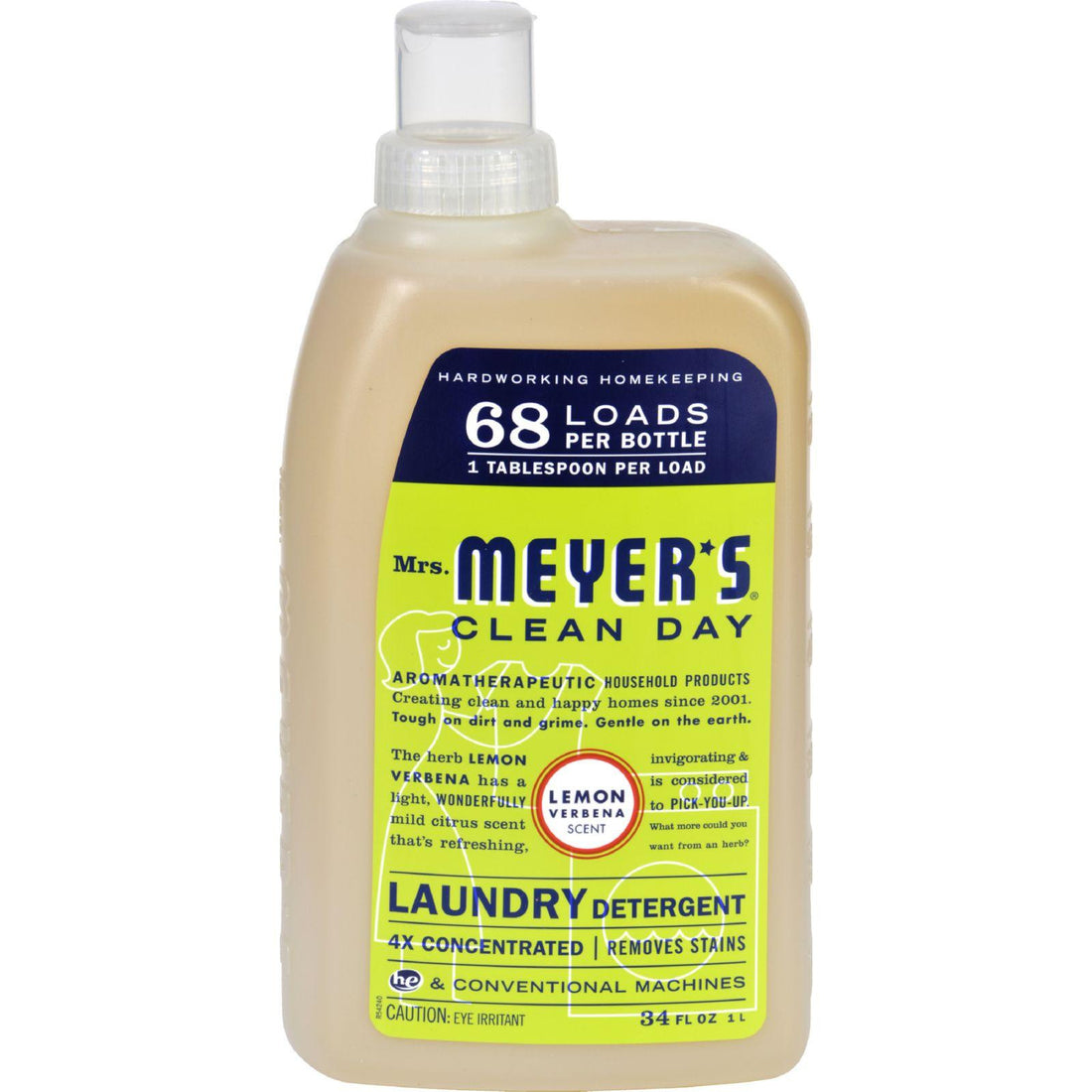 Mother Mantis: Mrs. Meyer's 68 Load 4x Laundry Detergent - Lemon Verbena - 34 Fl Oz - Case Of 6 Mrs. Meyer's