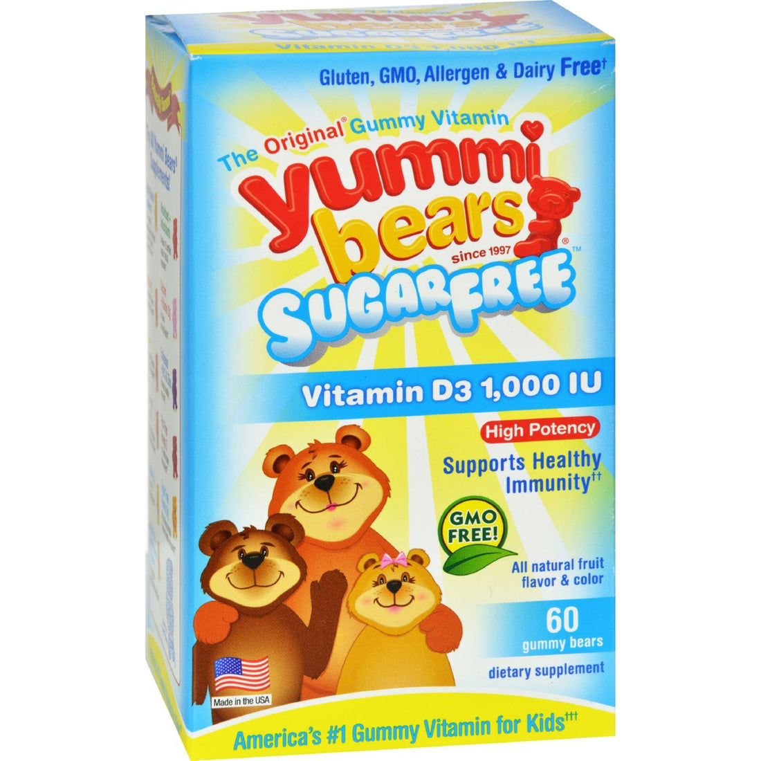 Mother Mantis: Hero Nutritional Products Yummi Bears Sugar Free Vitamin D3 - Fruit Flavors - 1000 Iu - 60 Pack Hero Nutritional Products