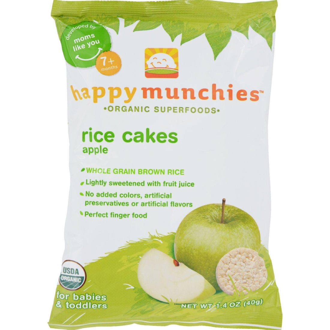 Mother Mantis: Happy Baby Happy Munchies Rice Cakes Apple - 1.41 Oz - Case Of 10 Happy Baby