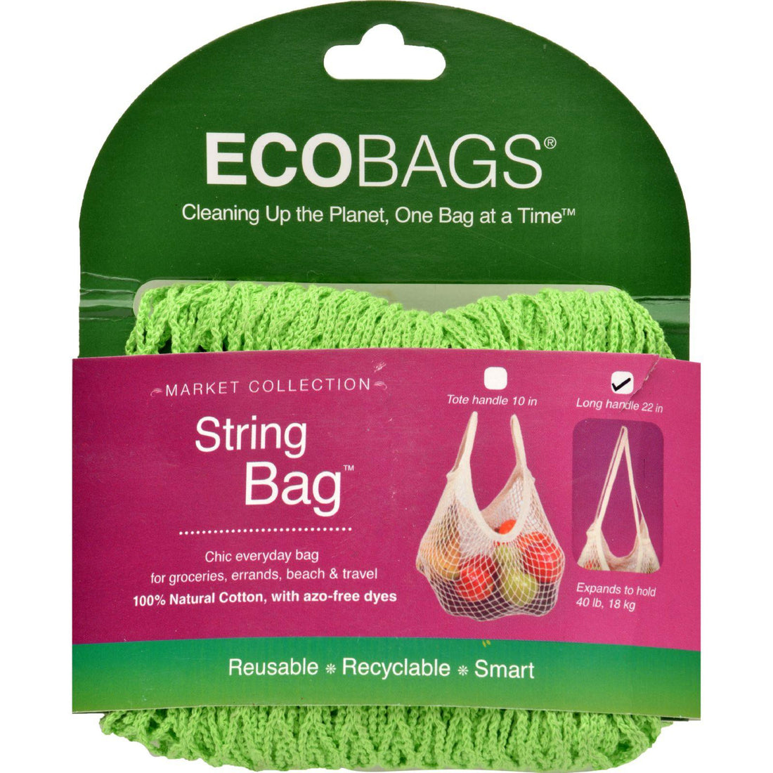 Mother Mantis: Ecobags Market Collection String Bags Long Handle - Lime - 1 Bag Ecobags