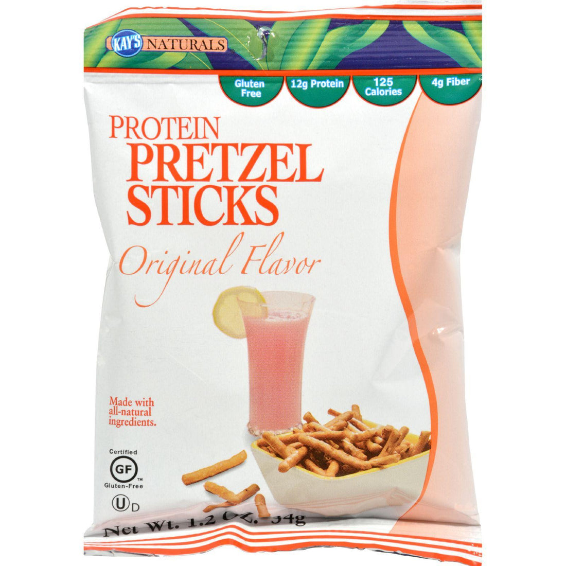 Mother Mantis: Kay's Naturals High Protein Pretzel Sticks - Orange - Case Of 6 - 1.2 Oz Kay's Naturals