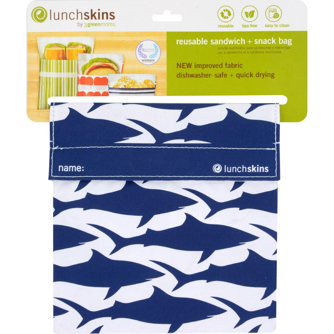 Mother Mantis: Lunchskins Sandwich Bag - Navy Shark Lunchskins