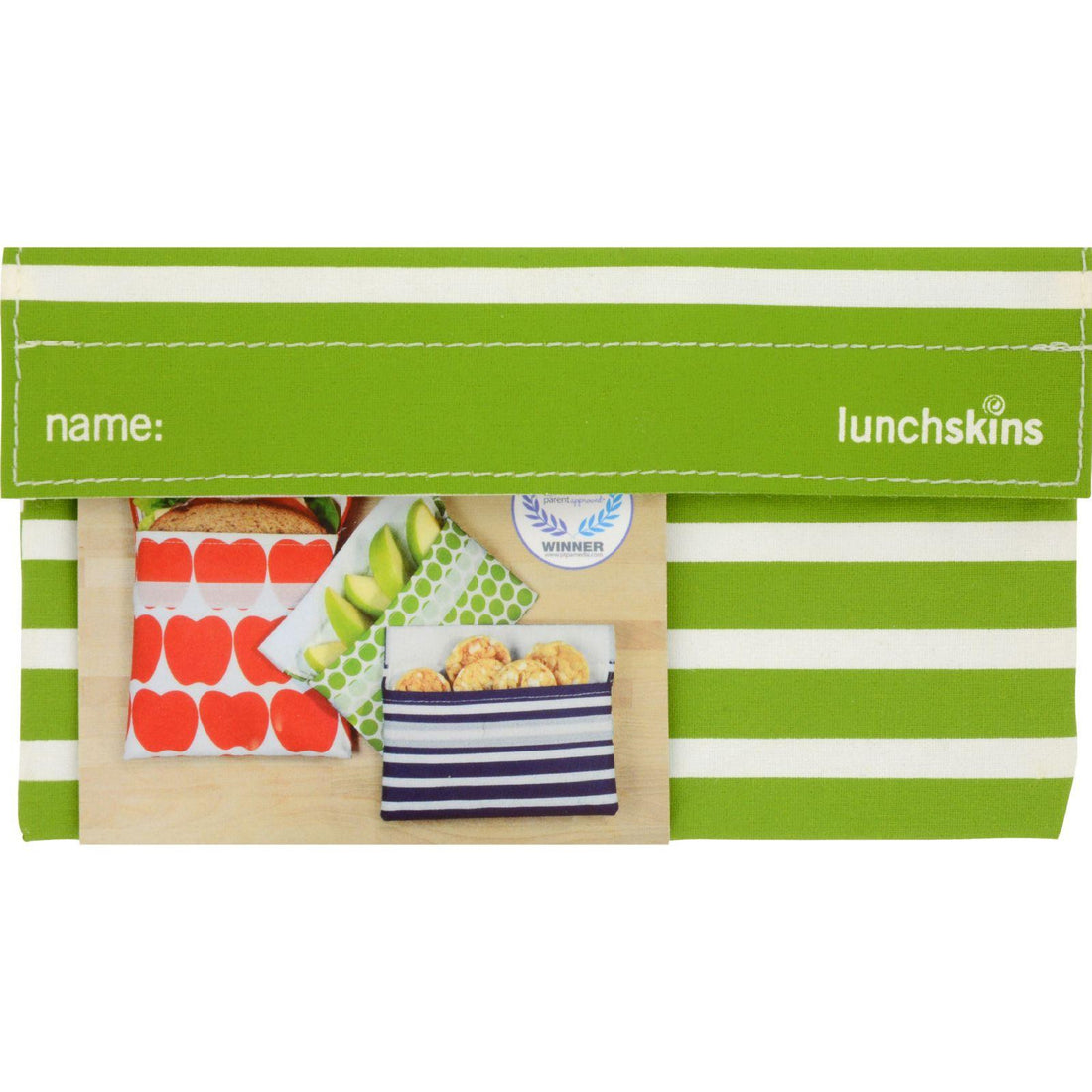 Mother Mantis: Lunchskins Snack Bag - Green Stripe Lunchskins