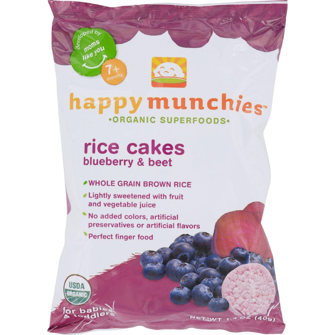 Mother Mantis: Happy Baby Happy Munchies Rice Cakes - Organic Blueberry And Beet - 1.4 Oz - Case Of 10 Happy Baby