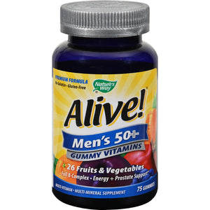 Nature's Way Alive - Men's 50+ Gummy Multi-vitamins - 75 Chewables Nature's Way