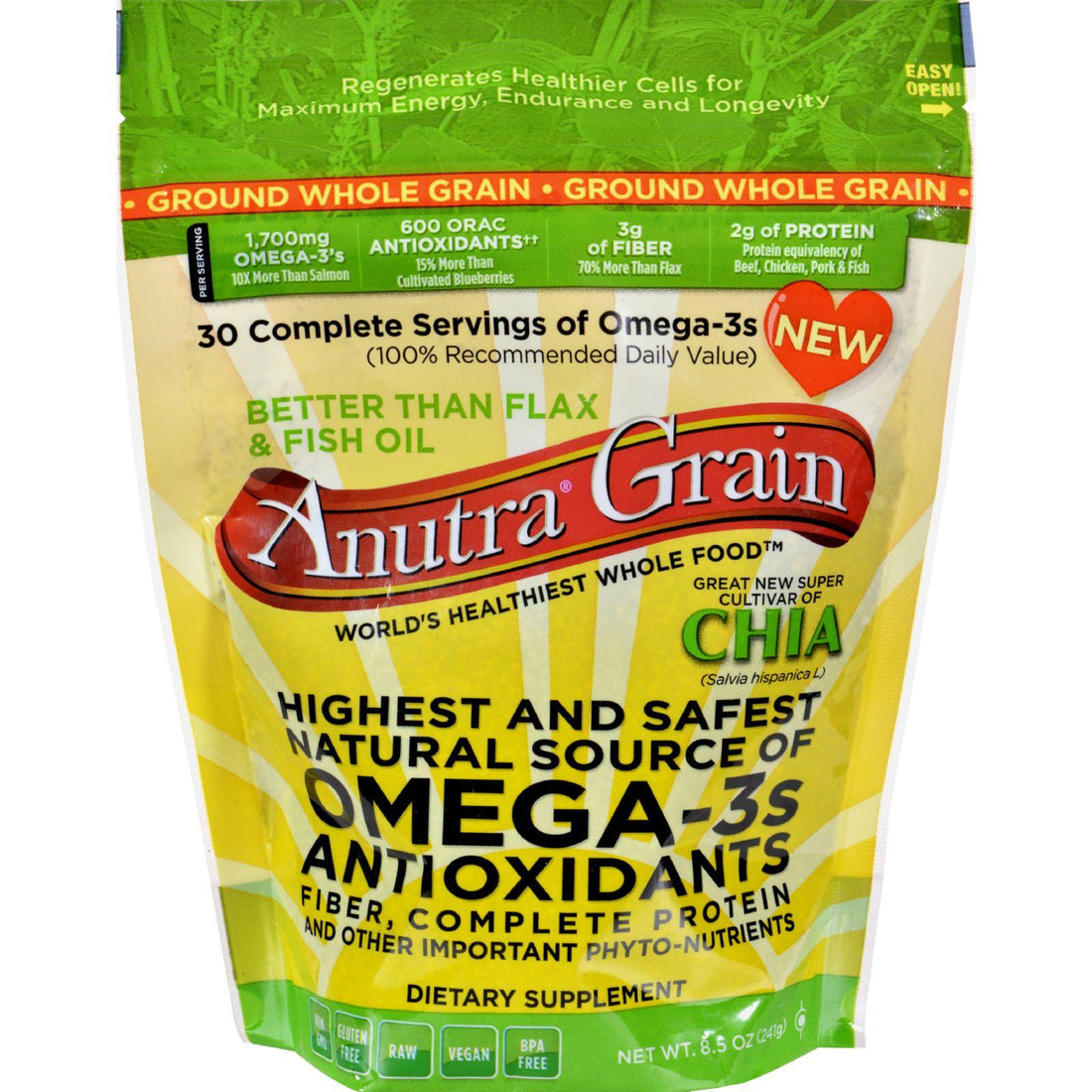 Mother Mantis: Anutra Omega 3s - Ground Whole Grain - 8.5 Oz Anutra