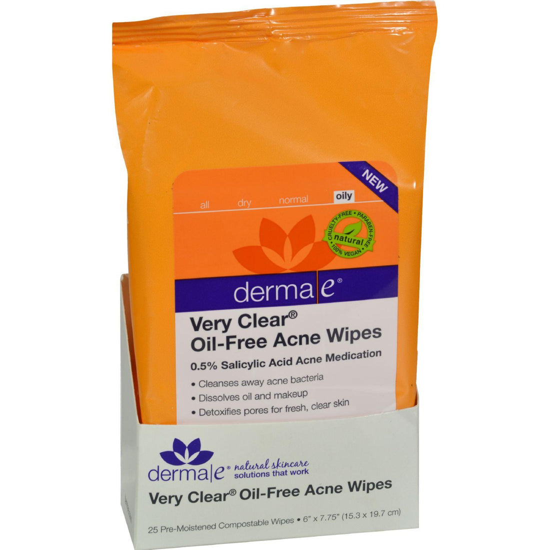 Mother Mantis: Derma E Acne Wipes - Very Clear Oil Free - 25 Ct Derma E
