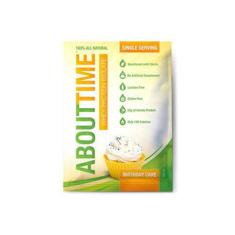 About Time Whey Protein Isolate - Birthday Cake Single Serving - 1 Oz - Case Of 12 About Time