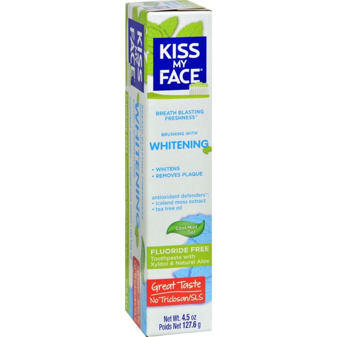 Mother Mantis: Kiss My Face Toothpaste - Whitening - Fluoride Free - Gel - 4.5 Oz Kiss My Face