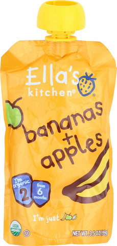 Ella's Kitchen Baby Food - Apples Bananas - Case Of 12 - 3.5 Oz. Ellas Kitchen Inc