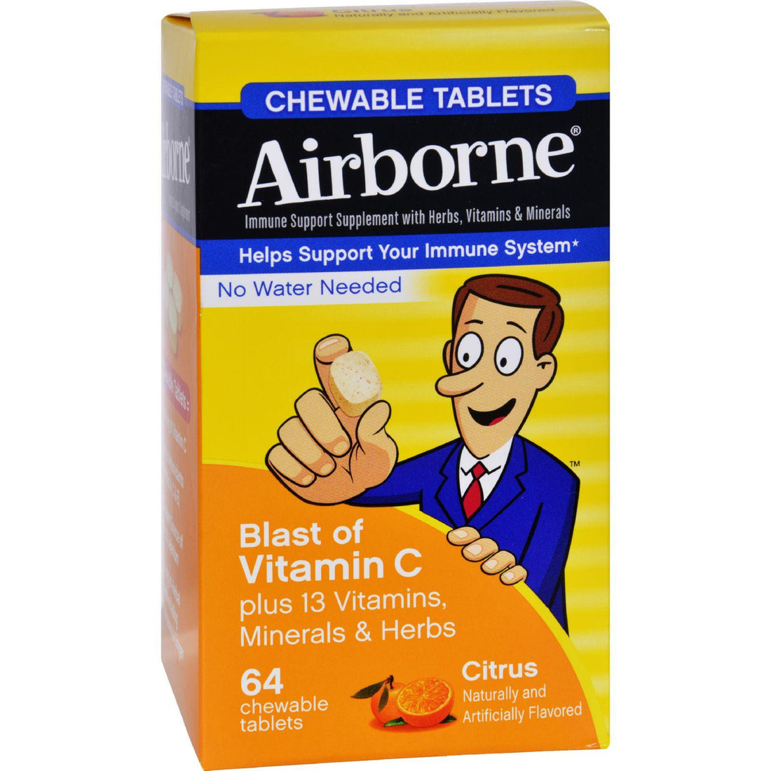 Mother Mantis: Airborne Chewable Tablets With Vitamin C - Citrus - 64 Tablets Airborne