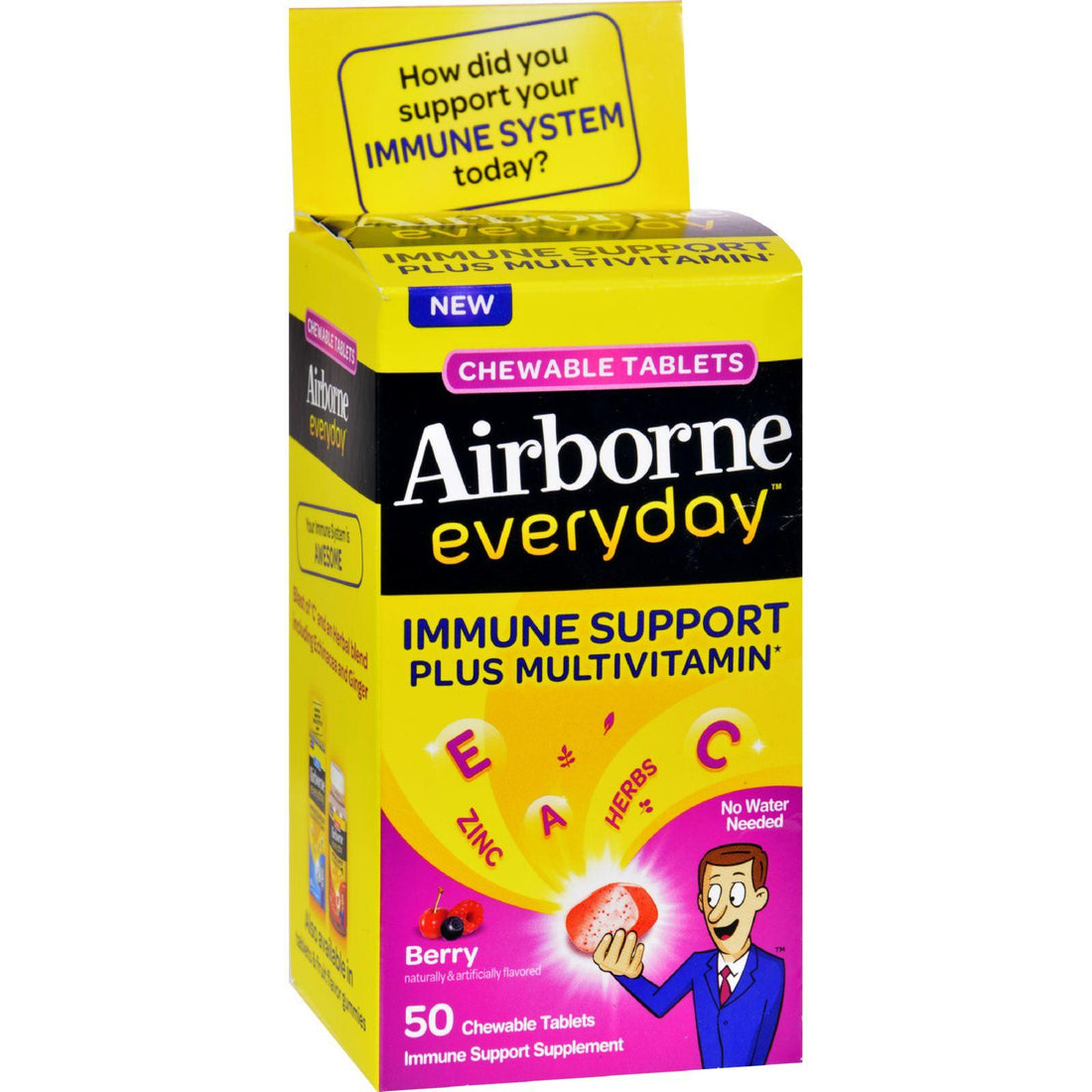 Mother Mantis: Airborne Everyday Chewable Multivitamin Tablets - Berry - 50 Count Airborne