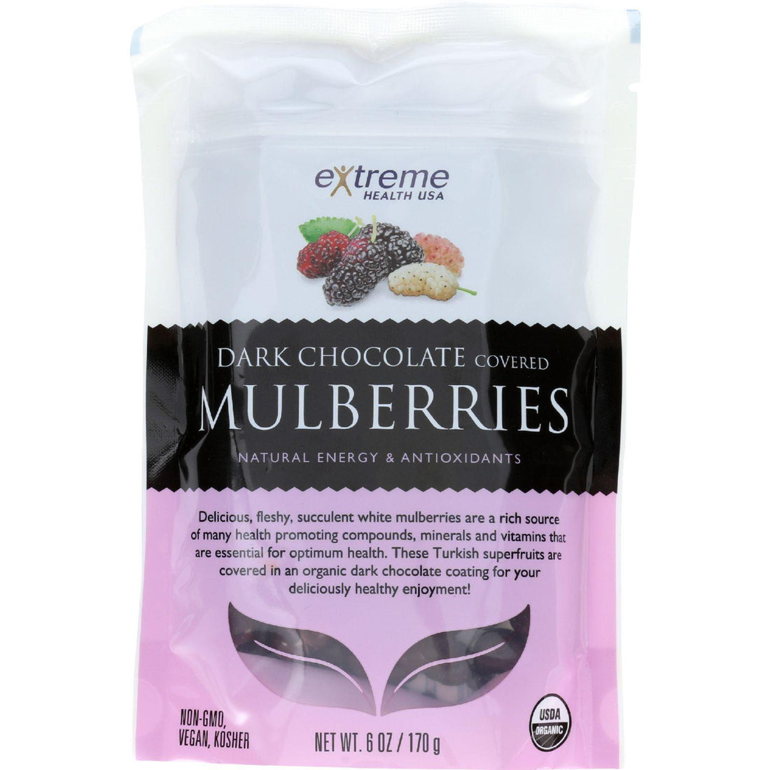 Mother Mantis: Extreme Health Usa Superfruits - Organic - Mulberries - Dark Chocolate Covered - 6 Oz - Case Of 6 Extreme Health Usa