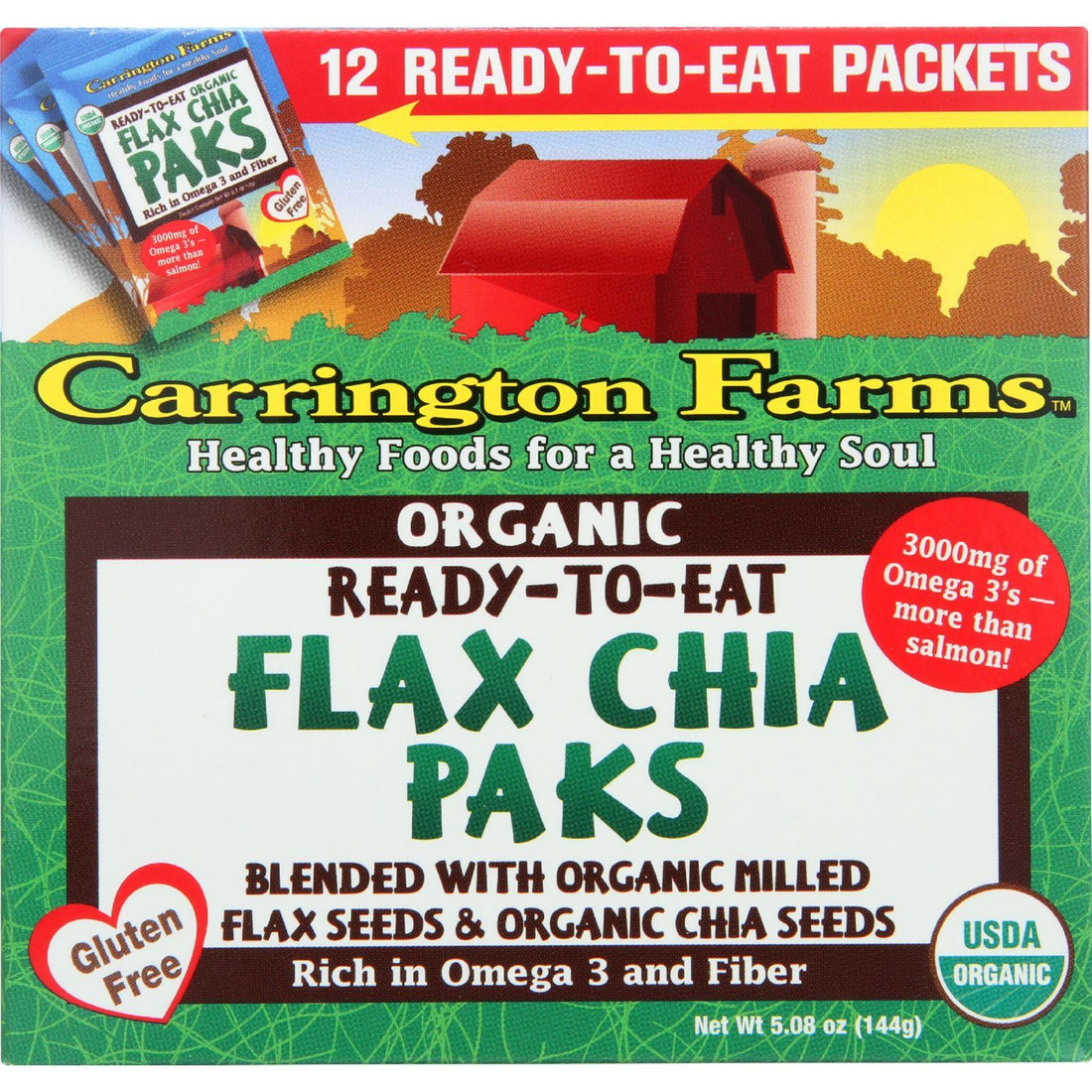 Mother Mantis: Carrington Farms Flax Paks - Organic - Ready To Eat - Chia - 12 Count - Case Of 6 Carrington Farms