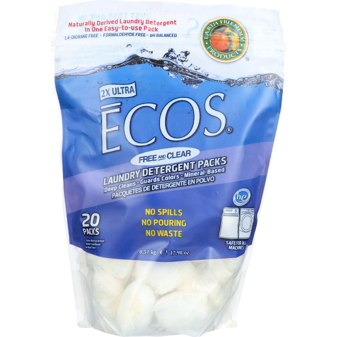 Mother Mantis: Earth Friendly Laundry Detergent Packs - Ultra Liq Ecos - 20 Pods - Free And Clear - 17.98 Oz - Case Of 6 Earth Friendly