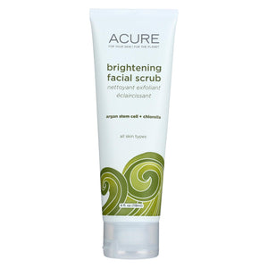 Acure Brightening Facial Scrub - Argan Extract And Chlorella - 4 Fl Oz. Acure
