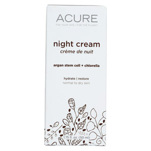 Acure Night Cream - Argan Extract And Chlorella - 1.75 Fl Oz. Acure