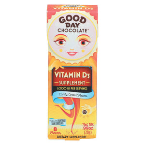 Good Day Chocolate Chocolate Pieces - With Vitamin D3 - Case Of 12 - 0.99 Oz Good Day Chocolate