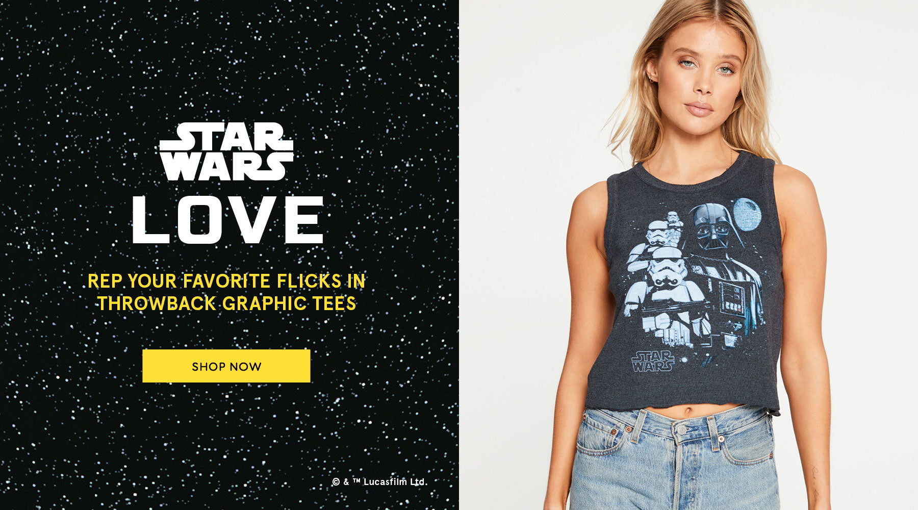 Get all nostalgic with the vintage-vibe graphics in our exclusive Star Wars™️ collection.