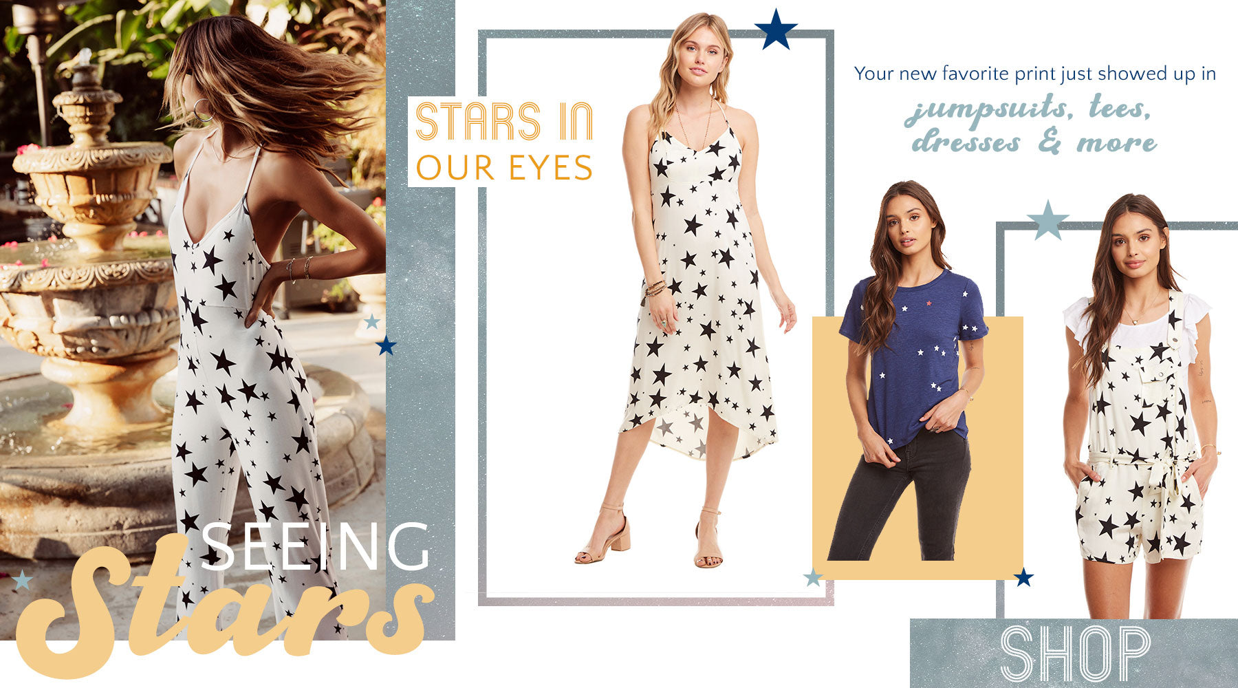 Seeing Stars!  Your new favorite print just showed up in jumpsuits, tees, dresses & more from Chaser
