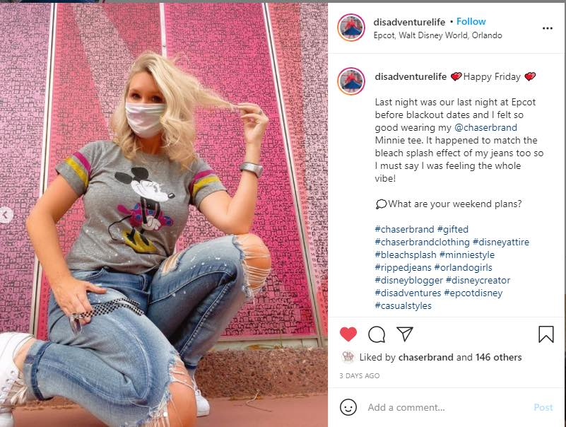 Janelle Anderson dressed in Disney's Minnie Mouse Tee on her Instagram