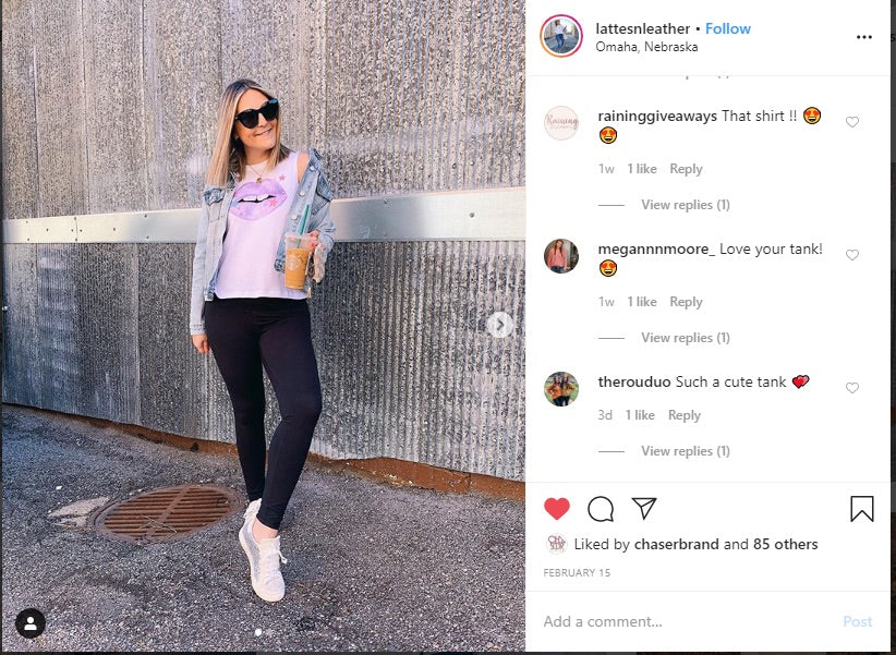 Omaha fashion blogger Latte and Leather in Chaser on her Instagram.