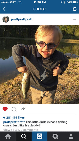 Jack Pratt, Chris Pratt's son, wearing Chaser Kids