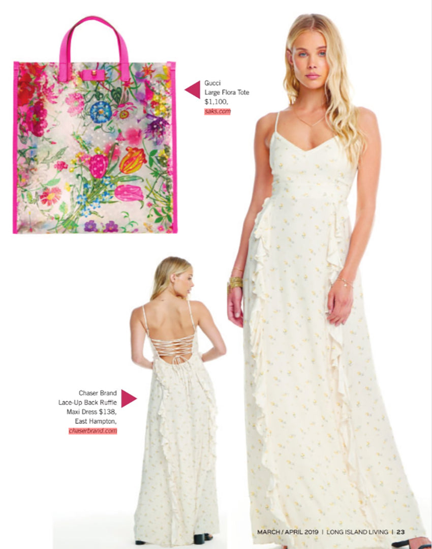 db0a6ff7fc Long Island Living Magazine found in most Long Island area malls and has a  200,000 subscription rate features our Heirloom Wovens lace up maxi  dressand our ...