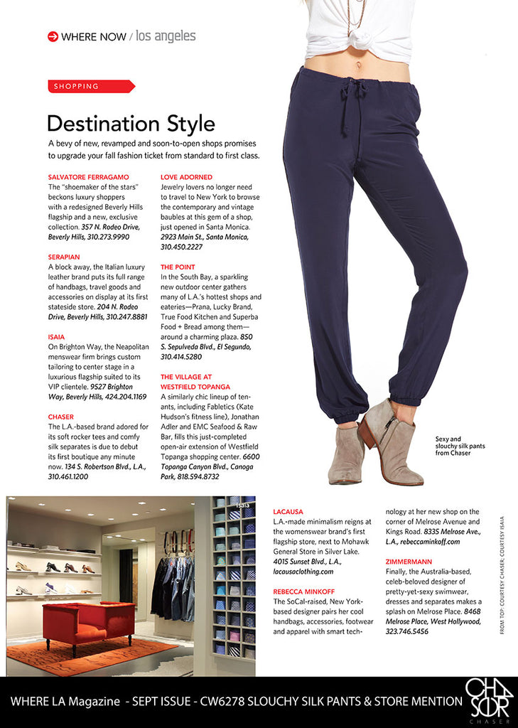 Chaser Brand gets love from WHERE LA Magazine!